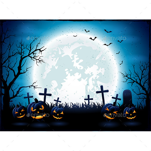 Halloween Night with Blue Moon and Pumpkins - Halloween Seasons/Holidays