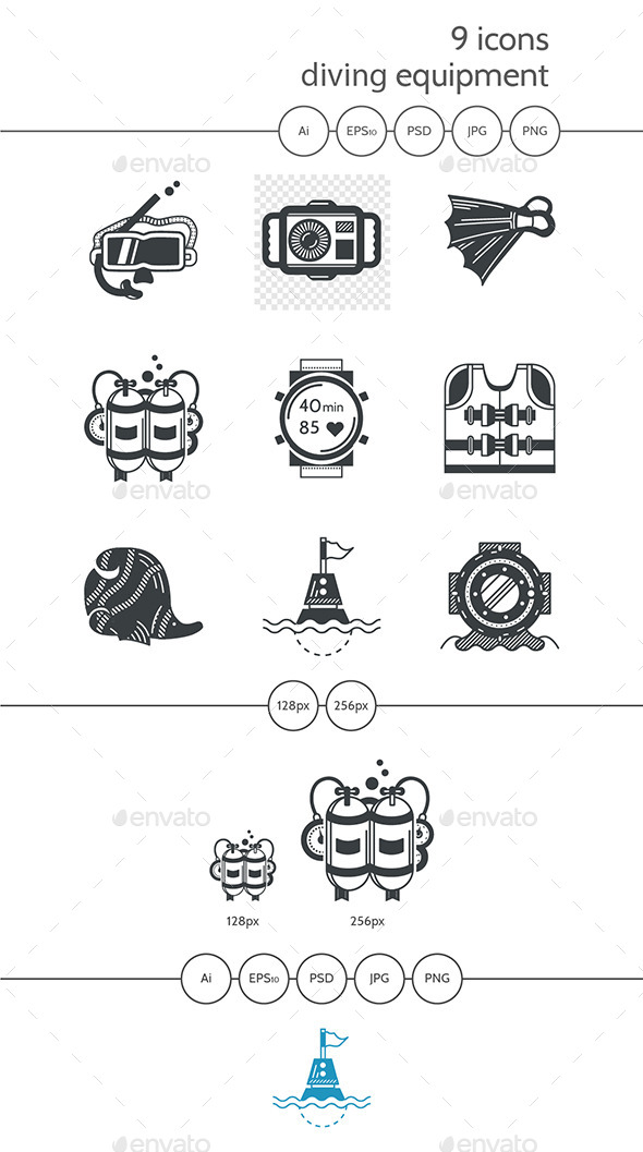 Diving Objects Black Icons