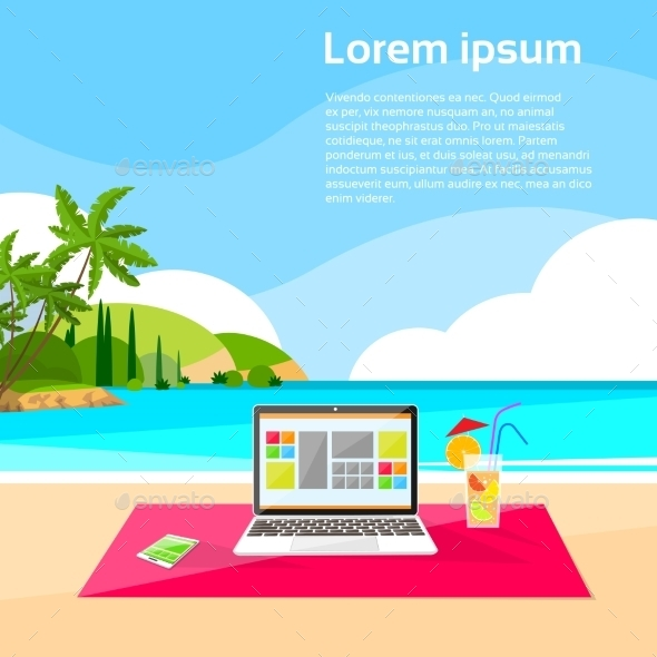 Laptop Freelance Beach Remote Working