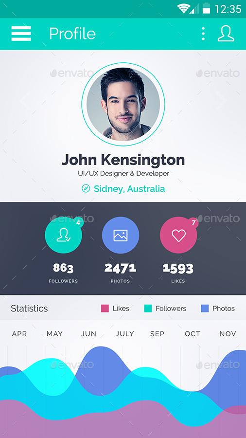 SpiritApp White - Android Mobile Design UI Kit
