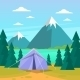 Tent Camping Tourist Forest Mountain Expedition - GraphicRiver Item for Sale