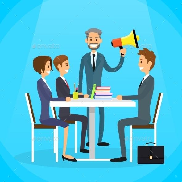 Businessman Boss Hold Megaphone Loudspeaker - Concepts Business