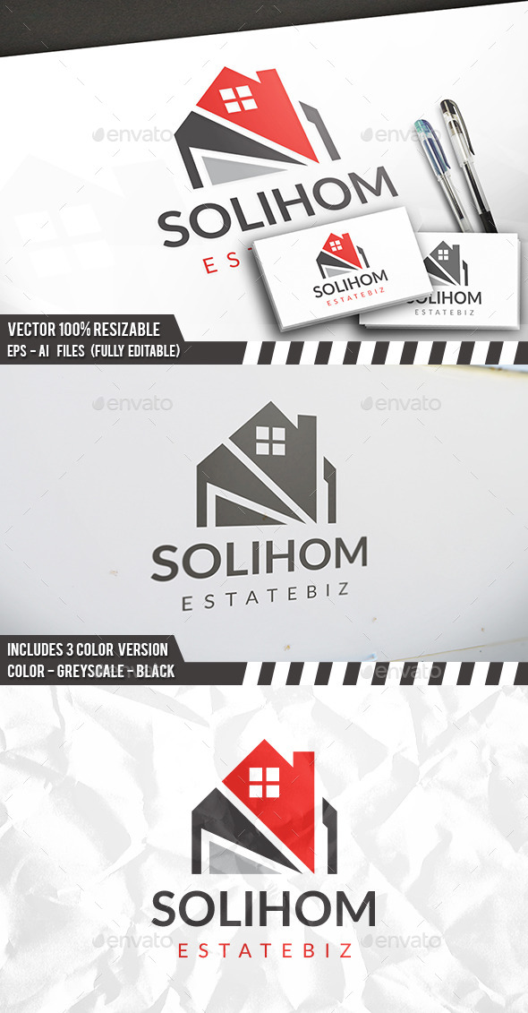 Solid House Logo - Buildings Logo Templates
