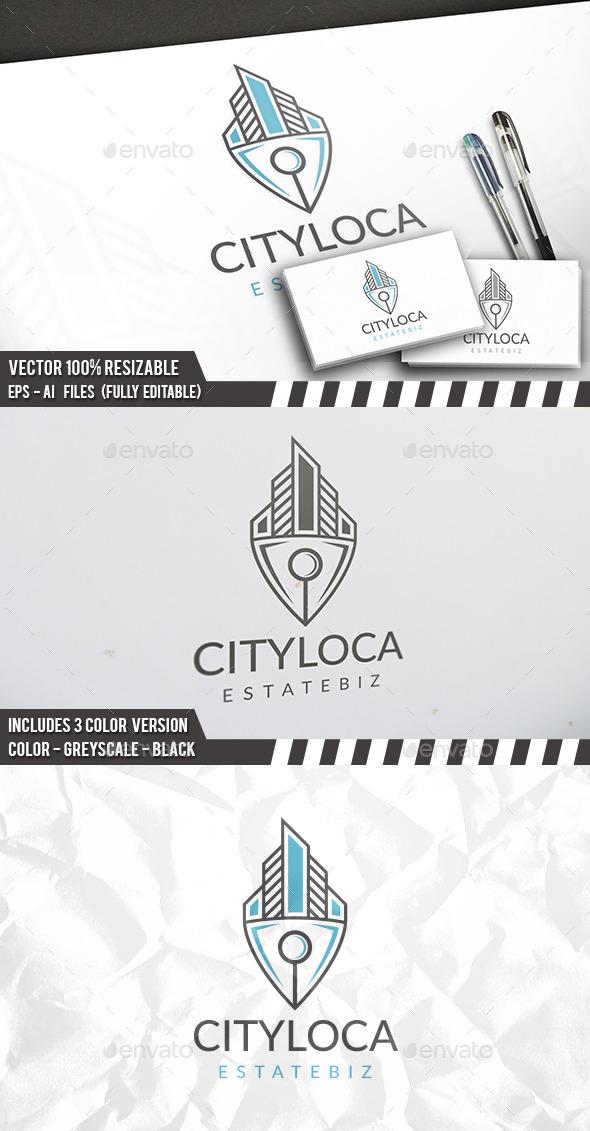 City Locator Logo - Buildings Logo Templates