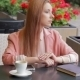 Pretty Woman Sitting In Restaurant - VideoHive Item for Sale