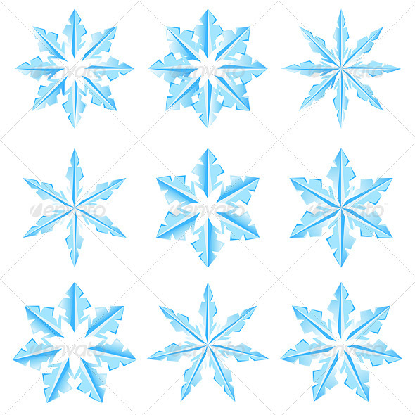 Set of Snowflakes - Characters Vectors
