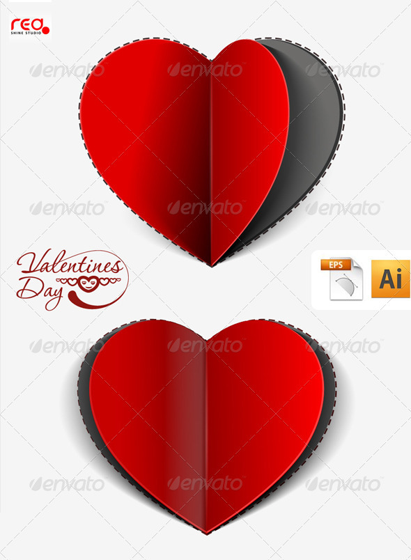 Paper cut heart greeting card design by redshinestudio graphicriver paper cut heart greeting card design m4hsunfo