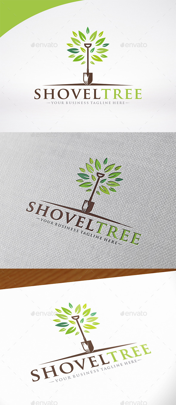 Shovel Tree Logo Template - Nature Logo Templates