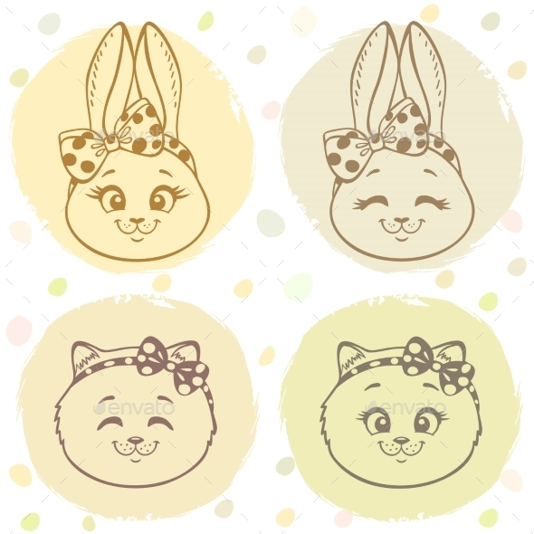 Set Bunny And Cat - Animals Characters