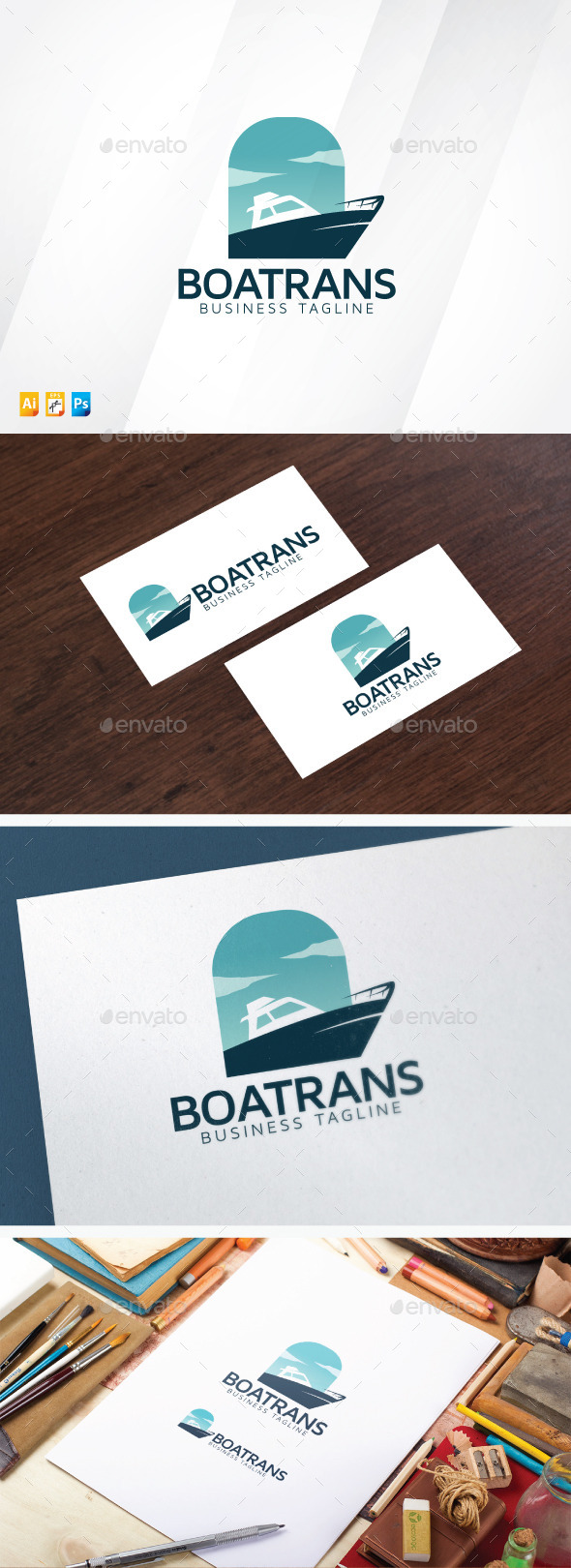 Boat Trans Logo - Vector Abstract