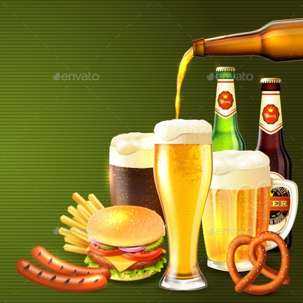 Beer Realistic Illustration - Food Objects