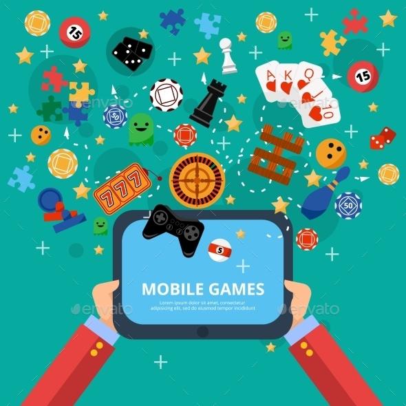 Mobile Games Entertainment Poster - Miscellaneous Vectors