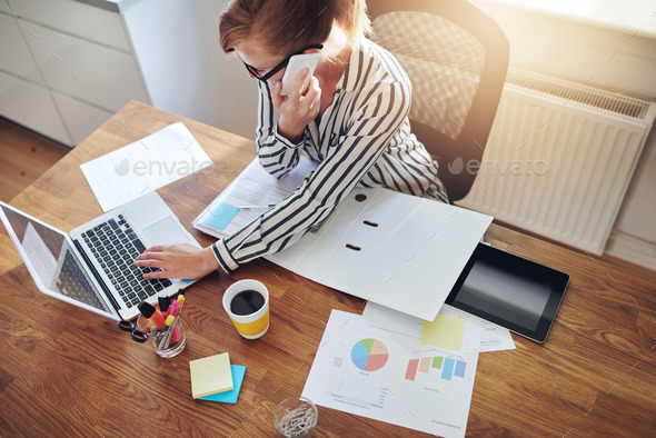 Successful businesswoman with an e-business - Stock Photo - Images