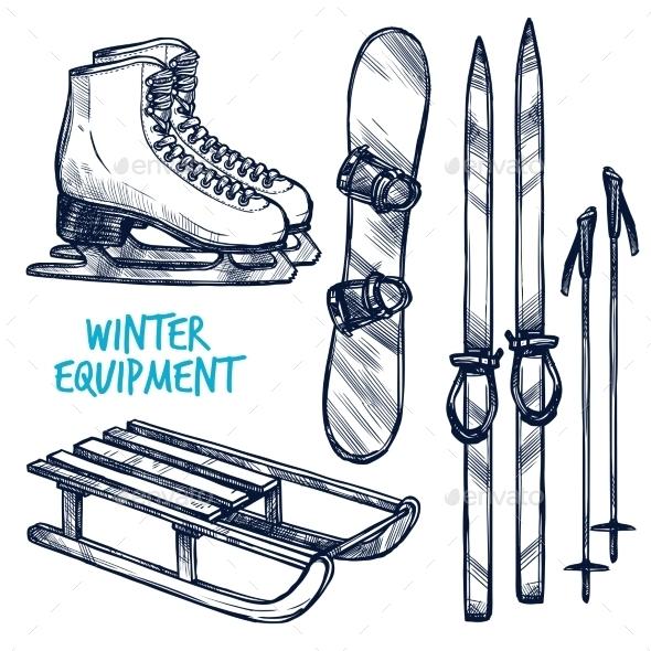 Sketch Winter Sport Objects