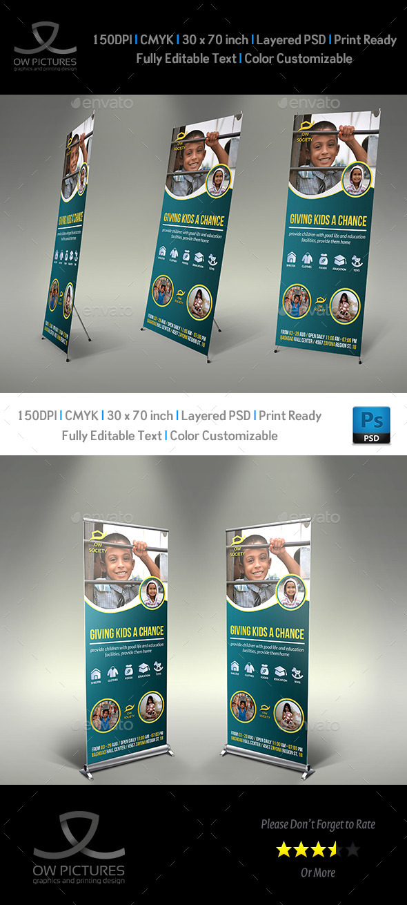 Kids Charity Signage Roll Up Banner Template - Signage Print Templates