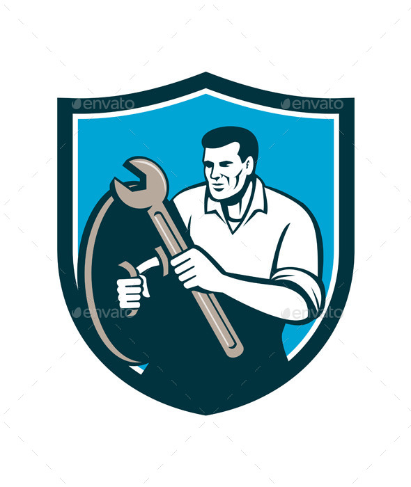 Mechanic Brandishing Spanner Wrench Shield Retro - People Characters