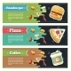 Vector Concept Fast Food Flat Banner Set. - GraphicRiver Item for Sale
