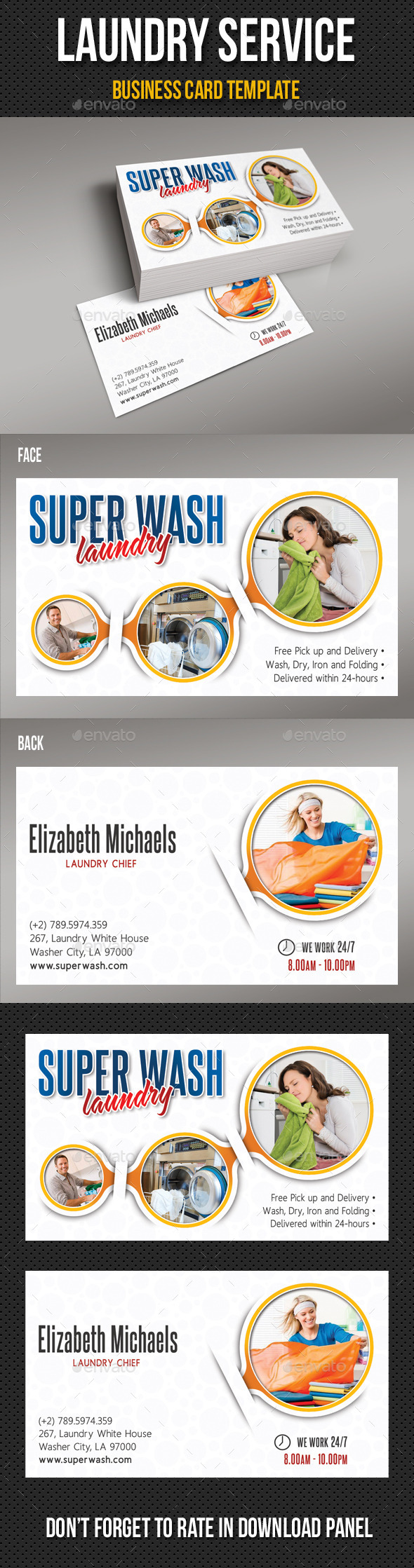 Laundry Services Business Card V02