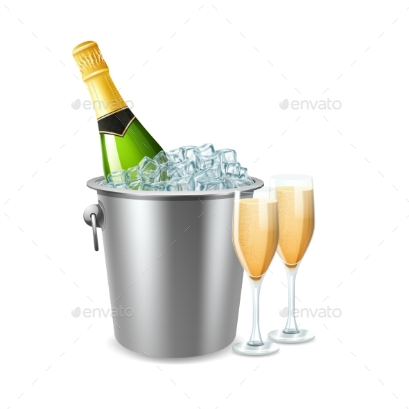Champagne In Bucket Illustration  - Food Objects