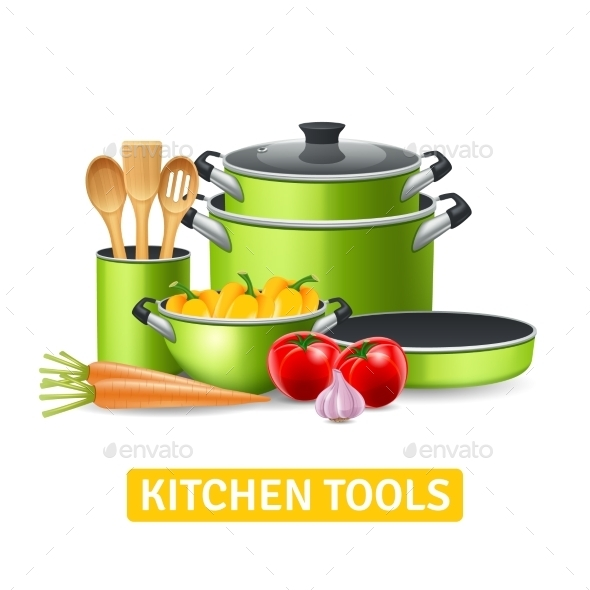 Kitchen Tools with Vegetables Illustration  - Food Objects