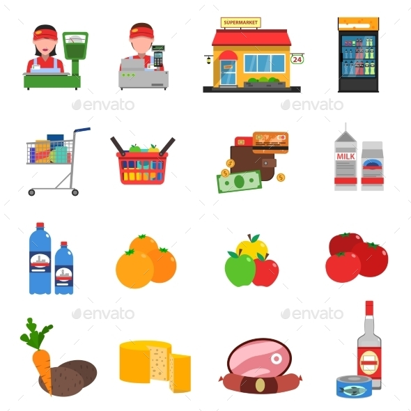 Supermarket Icons Set - Food Objects