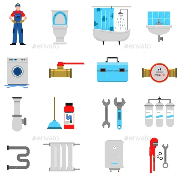 Plumbing Icons Set - Miscellaneous Icons