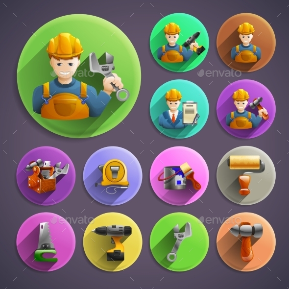 Construction Remodeling Round Isometric Icons