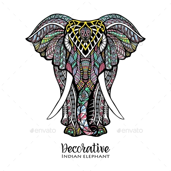 Elephant Colored Illustration - Animals Characters