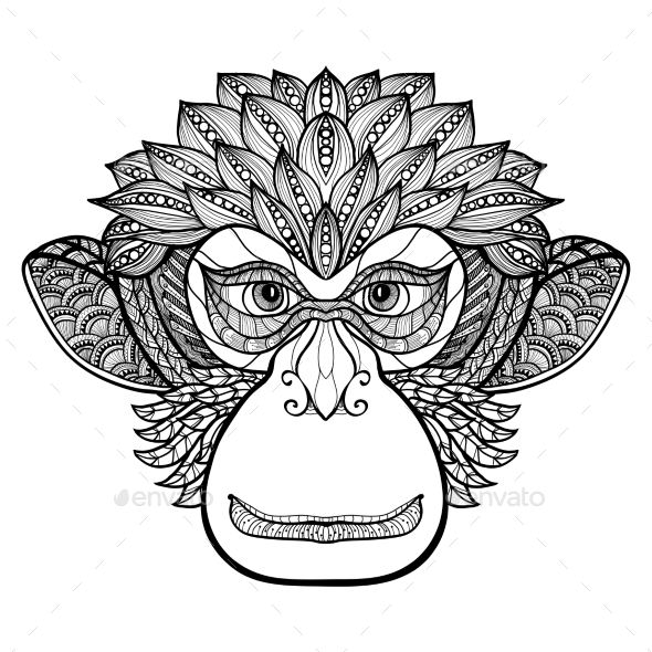 Monkey Doodle Face - Animals Characters