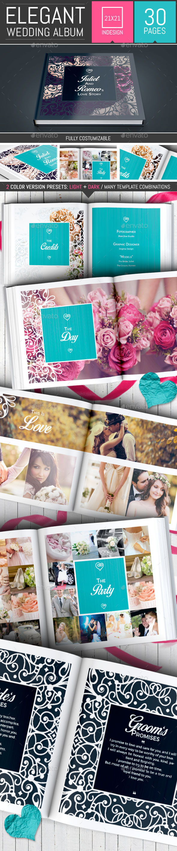 Romantic Wedding Square Photo Album Template