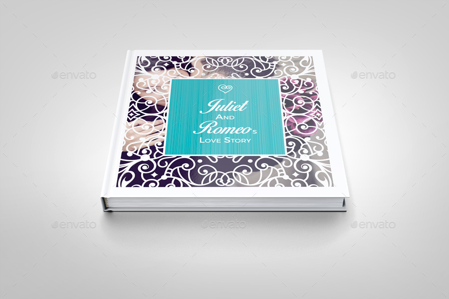 romantic wedding square photo album template by