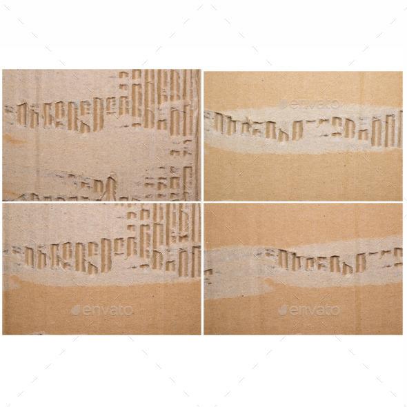 4 JPG files old textured cardboard  torn. Macro - Paper Textures