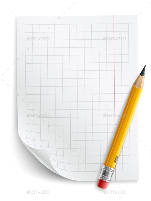 Blank Sheet of Paper with Grid and Pencil - Man-made Objects Objects