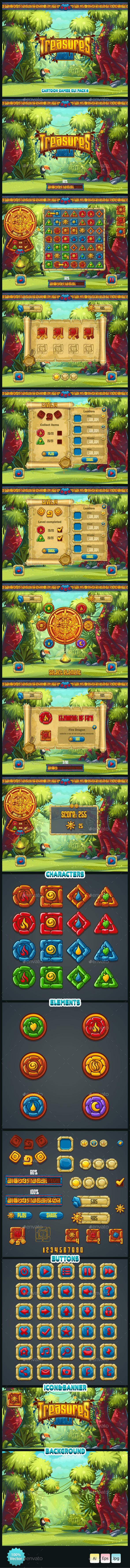 Jungle Treasures GUI. - User Interfaces Game Assets