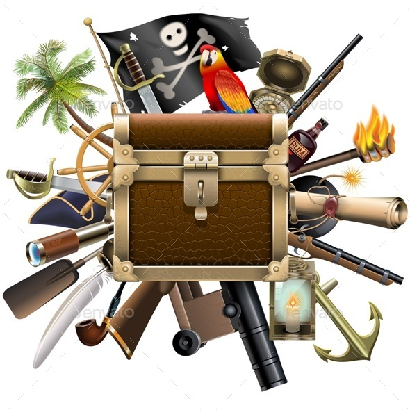 Vector Treasure Hunt Concept with Chest - Miscellaneous Vectors