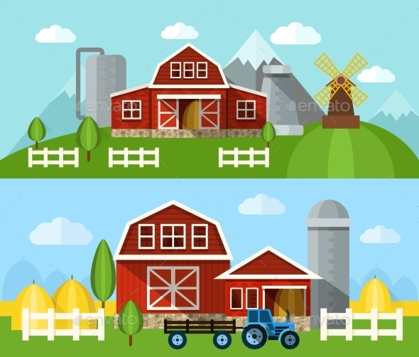 Farm Flat Banner - Buildings Objects