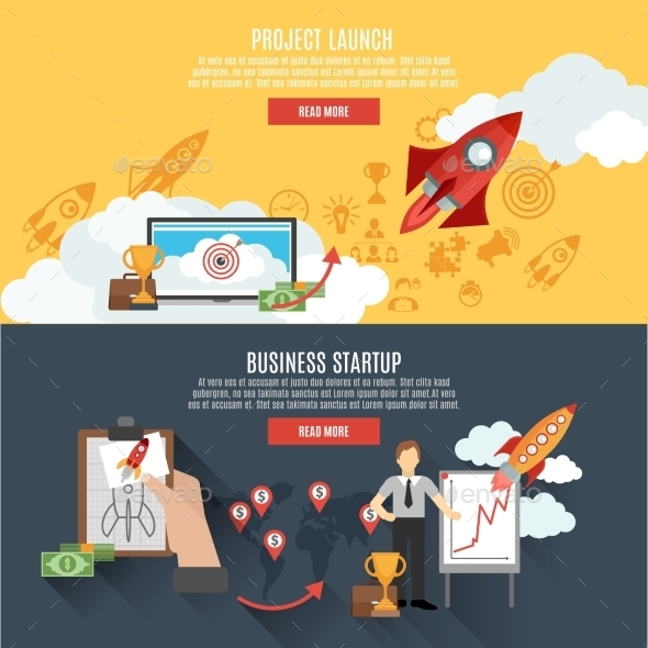 Rocket Launch Banners Interactive Webpage Design - Business Conceptual