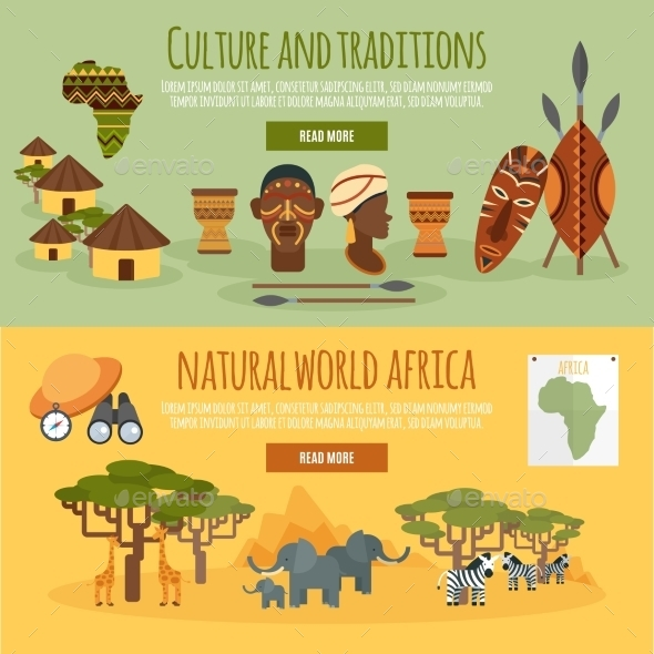 Africa 2 Flat Banners Set - Travel Conceptual