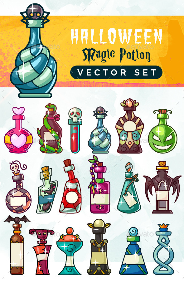 Halloween Magic Potion Bottles Set - Halloween Seasons/Holidays