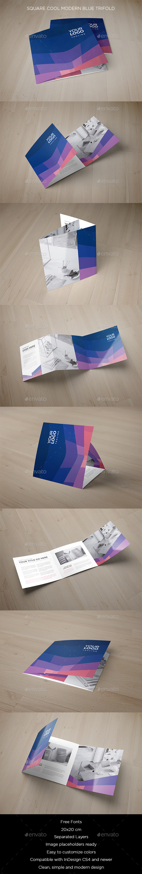 Square Cool Modern Blue Trifold - Brochures Print Templates