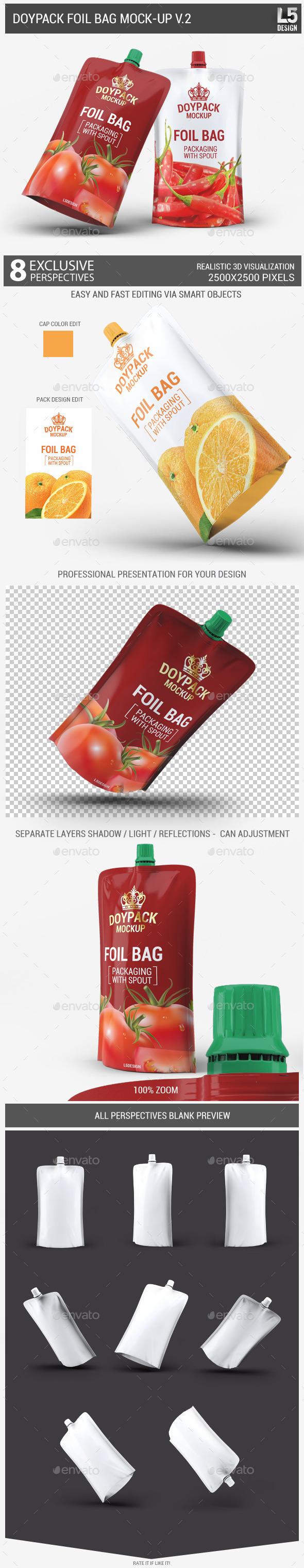 Doypack Foil Bag Mock-Up v.2 - Food and Drink Packaging