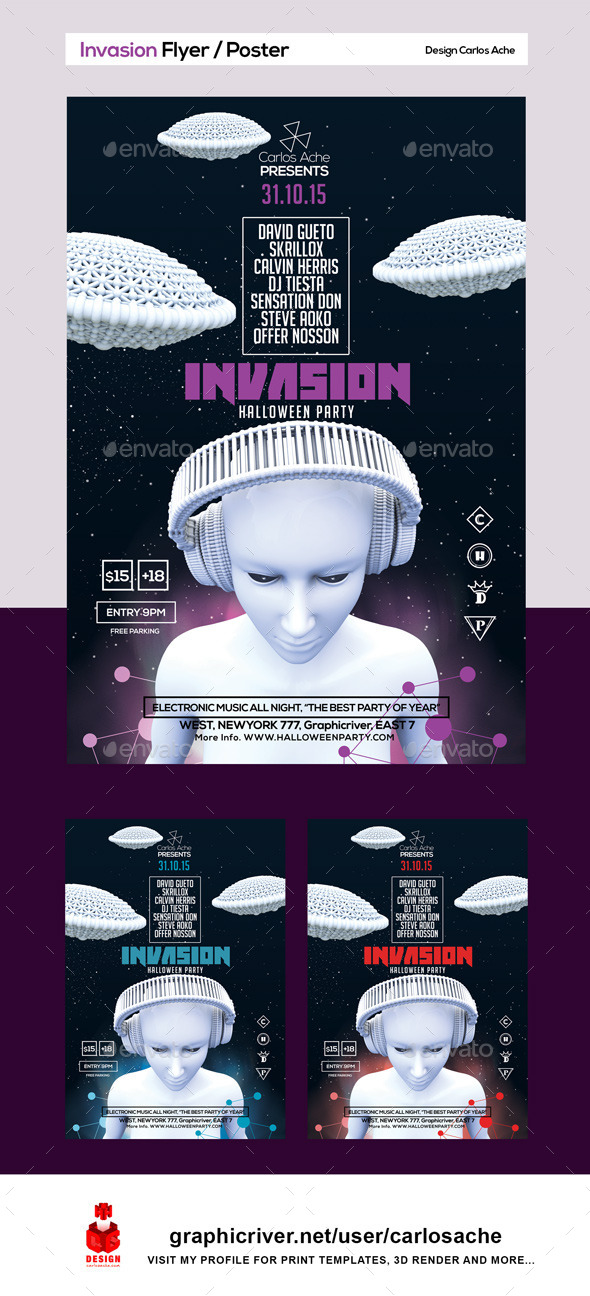 Invasion Flyer & Poster Template - Holidays Events