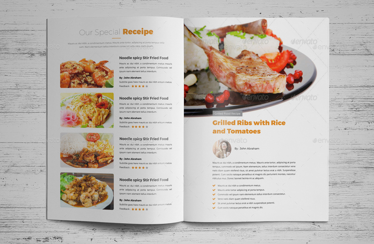 Food recipes brochure catalog design v2 by jbn comilla for Microsoft office cookbook template