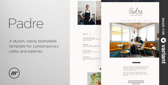 Padre - Cafe & Restaurant + Variant Page Builder - Restaurants & Cafes Entertainment