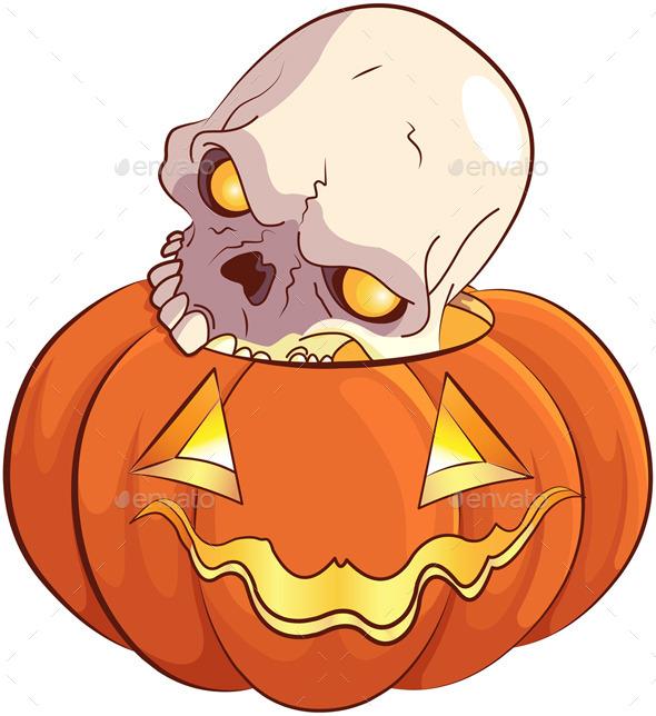 Skull and Pumpkin - Halloween Seasons/Holidays