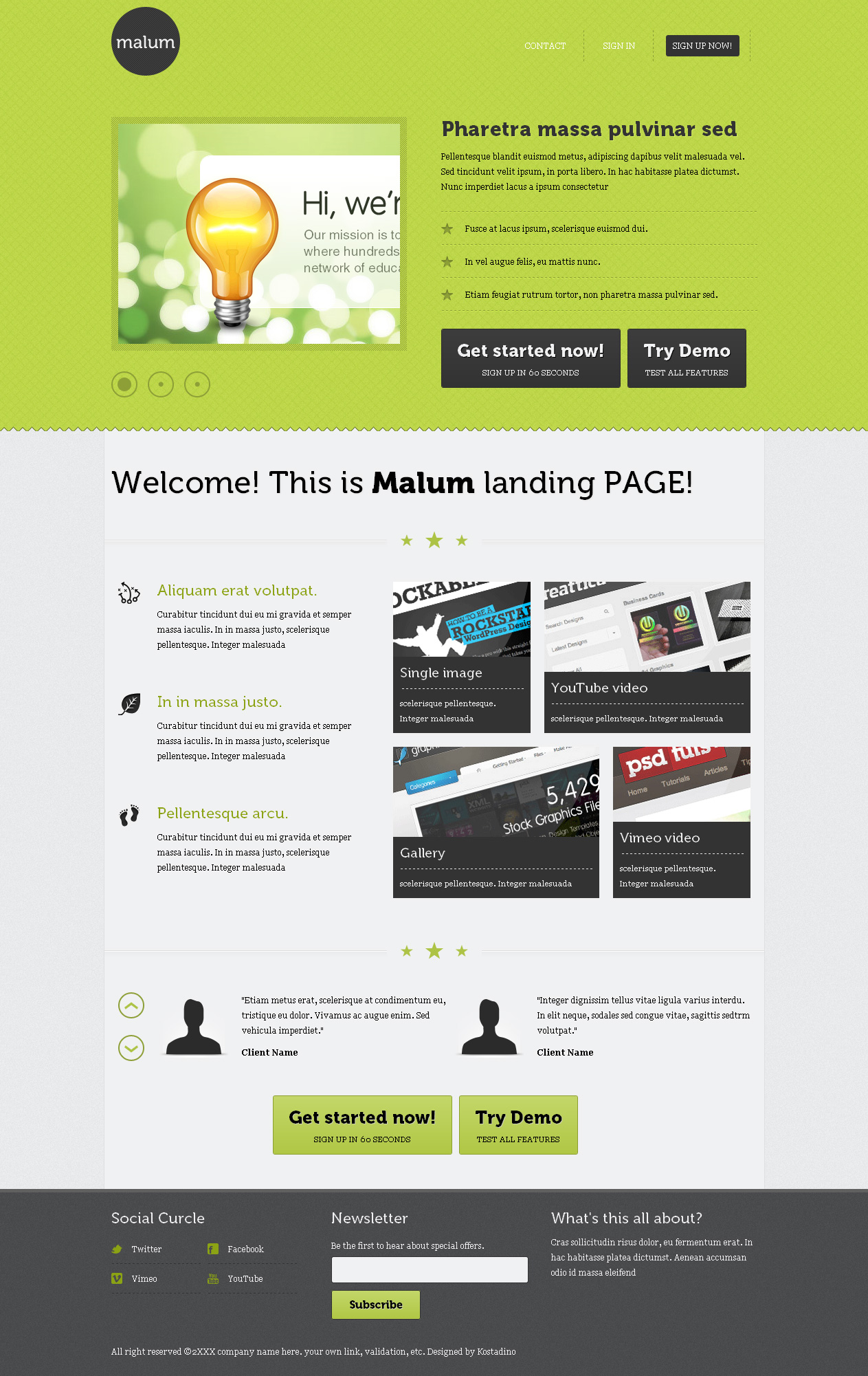 Malum landing page html template by kostadino themeforest for Jquery landing page templates