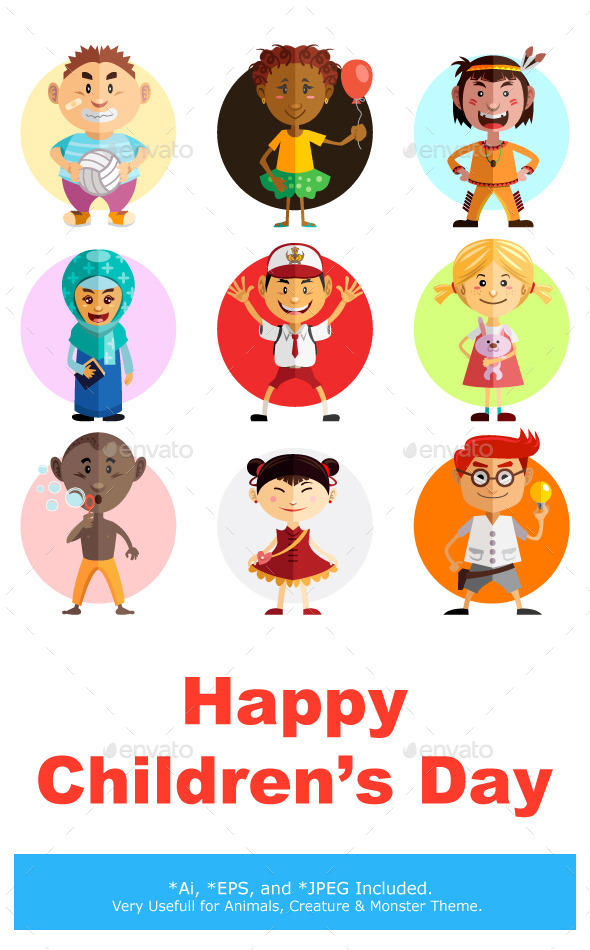 Happy Children's Day Illustration - People Characters