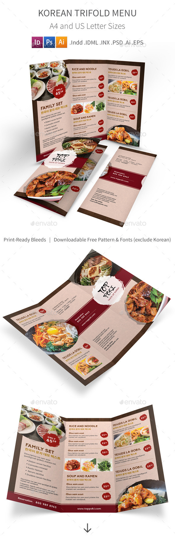 Korean Restaurant Trifold Menu - Food Menus Print Templates