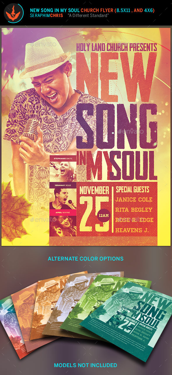 New Song In My Soul: Gospel Concert Flyer Template - Church Flyers