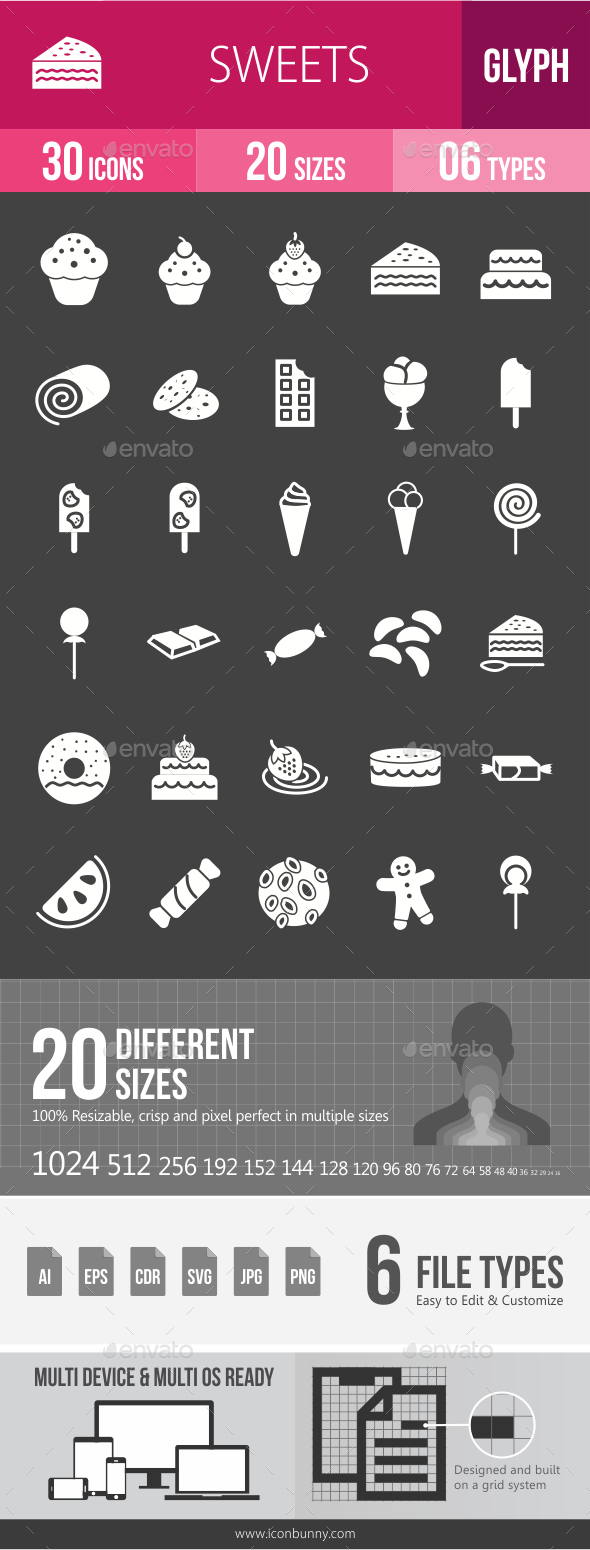 Sweets Glyph Inverted Icons - Icons